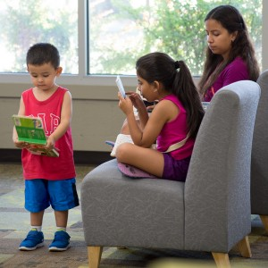 Child and parent reading