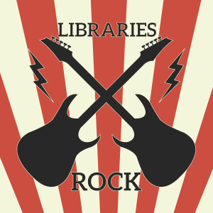 Libraries Rock logo with guitars