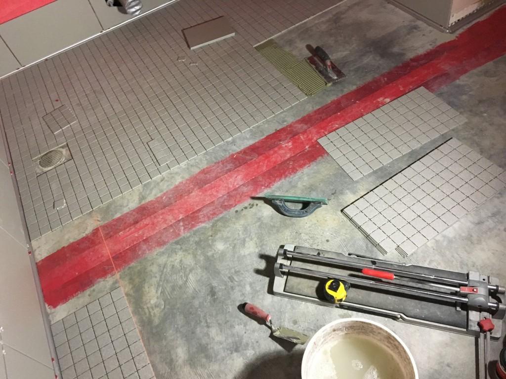 Bathroom tiles being installed 2/19/19
